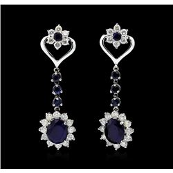 14KT White Gold 7.72ctw Sapphire and Diamond Earrings