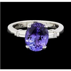 14KT White Gold 3.45ct Tanzanite and Diamond Ring