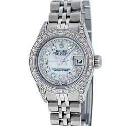 Rolex Ladies Stainless Steel 1.25ctw Diamond Datejust Wristwatch