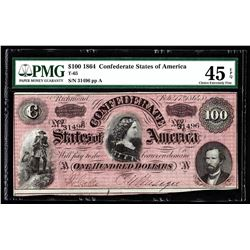 1864 $100 The Confederate States of America Note PMG Choice XF 45EPQ