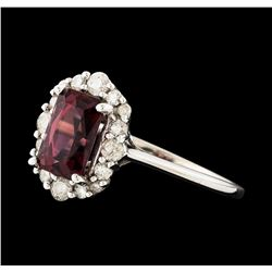14KT White Gold 1.67ct Rhodolite Garnet and Diamond Ring