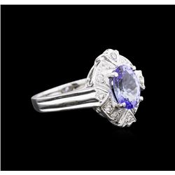 14KT White Gold 1.67ct Tanzanite and Diamond Ring