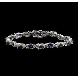 14KT White Gold 9.09ctw Blue Sapphire and Diamond Bracelet
