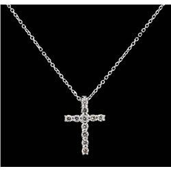 14KT White Gold 0.27ctw Diamond Cross Pendant with Chain