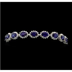 14KT White Gold 14.76ctw Sapphire and Diamond Bracelet