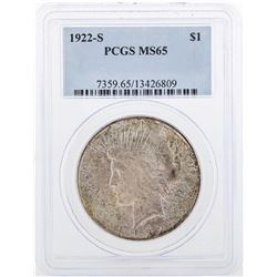1922-S $1 Peace Silver Dollar Coin PCGS MS65