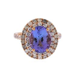 14KT Rose Gold 3.75ct Tanzanite and Diamond Ring