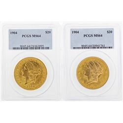 Lot of (2) 1904 $20 Liberty Head Double Eagle Gold Coins PCGS MS64