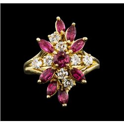 18KT Yellow Gold 1.60ctw Ruby and Diamond Ring