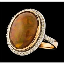 14KT Rose Gold 8.56ct Opal and Diamond Ring