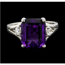 14KT White Gold 5.46ct Amethyst and Diamond Ring