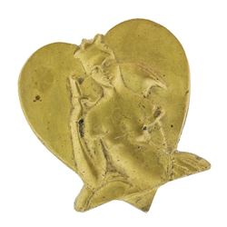 Circa 1950 Queen of Hearts Medal Cast Bronze