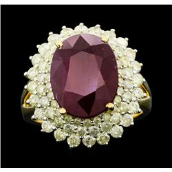 14KT Yellow Gold 8.61ct Ruby and Diamond Ring