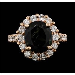 14KT Rose Gold 4.09ct Green Tourmaline and Diamond Ring