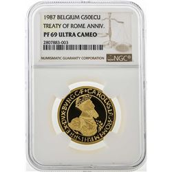 1987 Belgium 50 ECU Treaty of Rome Anniversary Gold Coin NGC PF69 Ultra Cameo