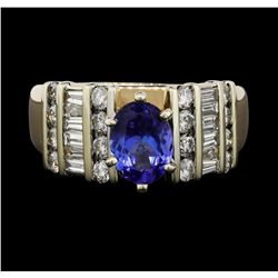 14KT Two Tone Gold 1.11ct Tanzanite and Diamond Ring