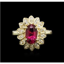 14KT Yellow Gold 1.58ct Pink Tourmaline and Diamond Ring
