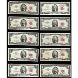 Lot of (10) 1963 $2 Legal Tender Notes
