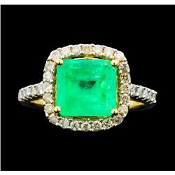 14KT Yellow Gold 2.80ct Emerald and Diamond Ring
