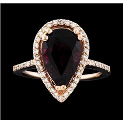 14KT Rose Gold 3.78ct Rubellite and Diamond Ring