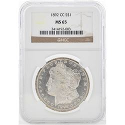 1892-CC $1 Morgan Silver Dollar Coin NGC MS65