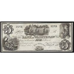 1835 $5 The Bank of Washtenaw Michigan Obsolete Bank Note