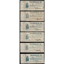 Lot of (6) 1860s The San Augustine Mining Company Stock Certs
