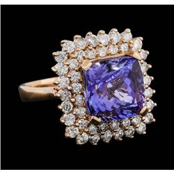 14KT Rose Gold 7.37ct Tanzanite and Diamond Ring