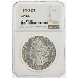 1890-S $1 Morgan Silver Dollar Coin NGC MS64