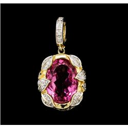 14KT Yellow Gold 14.00ct Pink Topaz and Diamond Pendant