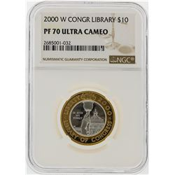 2000-W $10 Library of Congress Gold & Platinum Coin NGC Graded PF70 Ultra Cameo