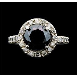 14KT White Gold 5.31ctw Black Diamond Ring