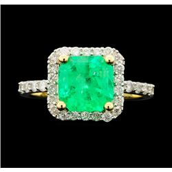 14KT Yellow Gold 2.31ct Emerald and Diamond Ring