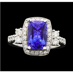 14KT White Gold 4.00ct Tanzanite and Diamond Ring