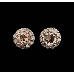 14KT Rose Gold 0.86ctw Morganite and Diamond Earrings