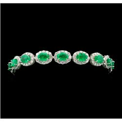 14KT White Gold 10.63ctw Emerald and Diamond Bracelet