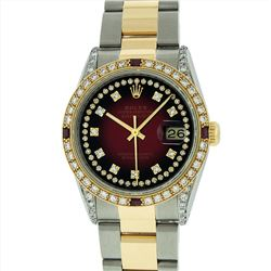 Rolex Mens 18KT Two Tone 1.00ctw Ruby and Diamond DateJust Wristwatch