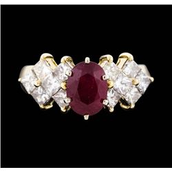 14KT Two Tone Gold 1.85ct Ruby and Diamond Ring