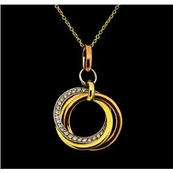 14KT Yellow, Rose and White Gold 0.21ctw Diamond Pendant with Chain
