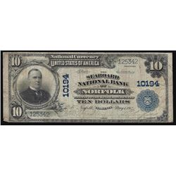 1902 $10 The Seaboard National Bank of Norfolk Virginia National Currency Note