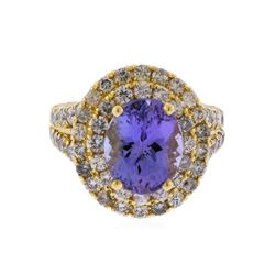 14KT Yellow Gold 4.23ct Tanzanite and Diamond Ring