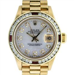 Rolex Ladies President 18K Yellow Gold Ruby and 1.00ctw Diamond Datejust Wristwa