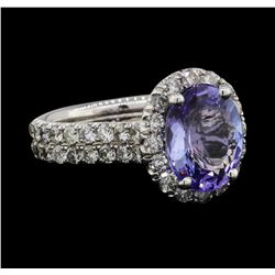 14KT White Gold 3.29ct Tanzanite and Diamond Ring