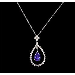 14KT White Gold 1.53ct Tanzanite and Diamond Pendant With Chain
