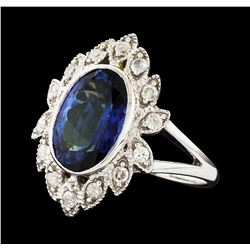 14KT White Gold 4.29ct Tanzanite and Diamond Ring