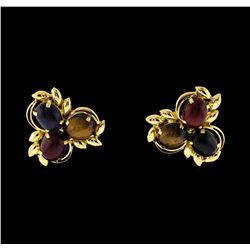 22KT Yellow Gold 12.27ctw Cabochon Tigers Eyes and Black Onyx Earrings
