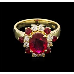 14KT Yellow Gold 2.60ctw Ruby and Diamond Ring