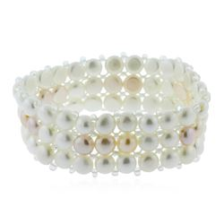 Unique Fashion 3 Row Cultured White Pearl Bracelet