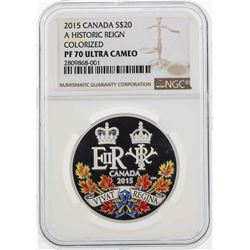 2015 Canada $20 Historic Reign Colorized Silver Coin NGC PF70 Ultra Cameo