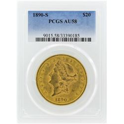 1890-S $20 Liberty Head Double Eagle Gold Coin PCGS AU58
